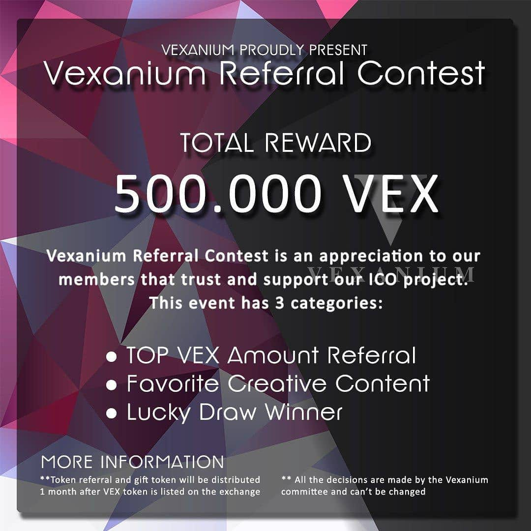 "Announcing the ""Vexanium Referral Contest"""