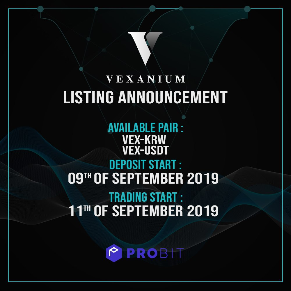 Vexanium x ProBit Listing Announcement