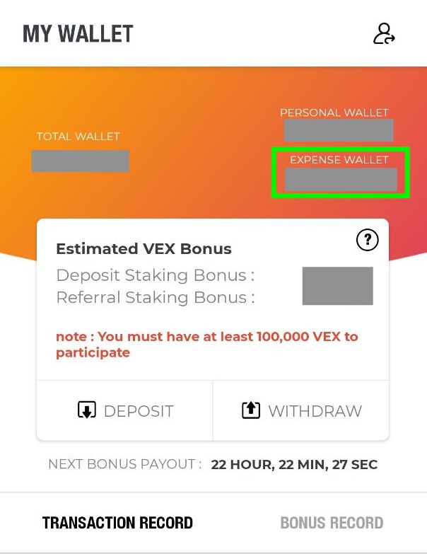 VexGift Expense Wallet Swap to VP